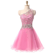 Pink Ball Gowns And Cocktail Dresses One Shoulder Stone Beaded For Girls Dress Short