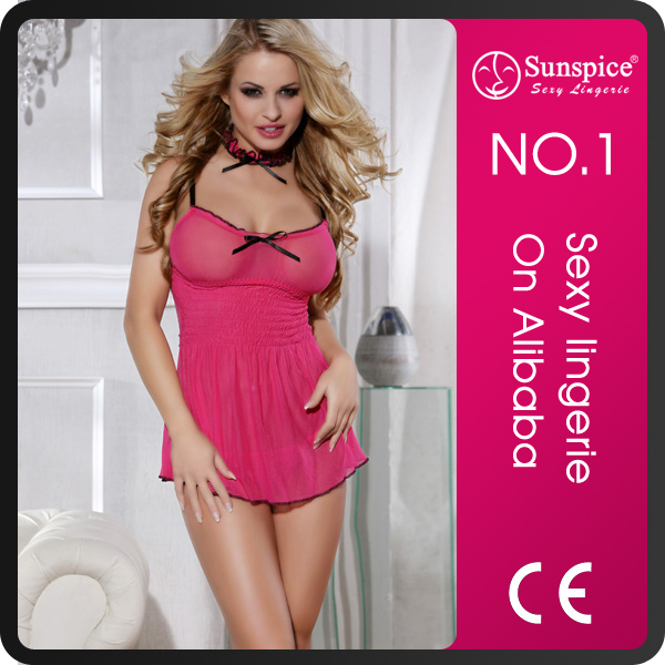 Sunspice factory hot sales nude sheer lingerie babydoll for women