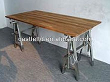 Foldable dining table with solid oak wood top and stainless legs
