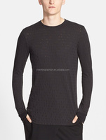 CHEFON Irregular open-knit spots perforated fitted long sleeve tee