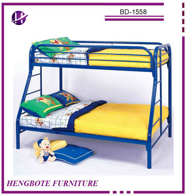 Iron metal type bedroom furniture children used double decker bunk bed