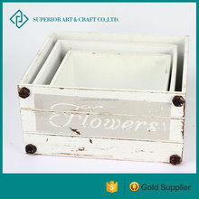 Cheap vintage decorative white mini gift wooden storage flower planter box for home and garden