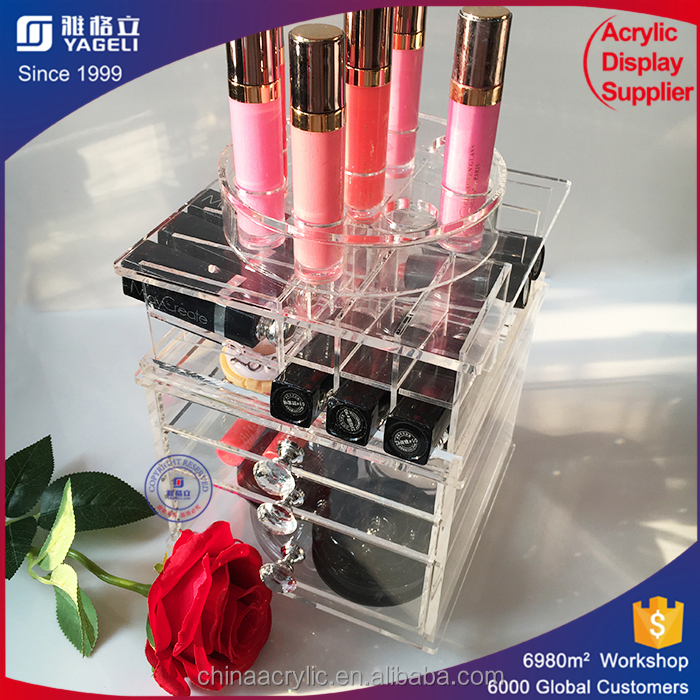 Low cost excellent quality handmade cheap acrylic cube makeup storage case