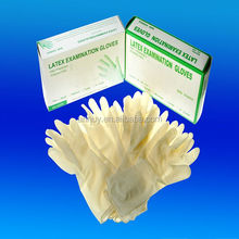 Latex examination gloves without powder