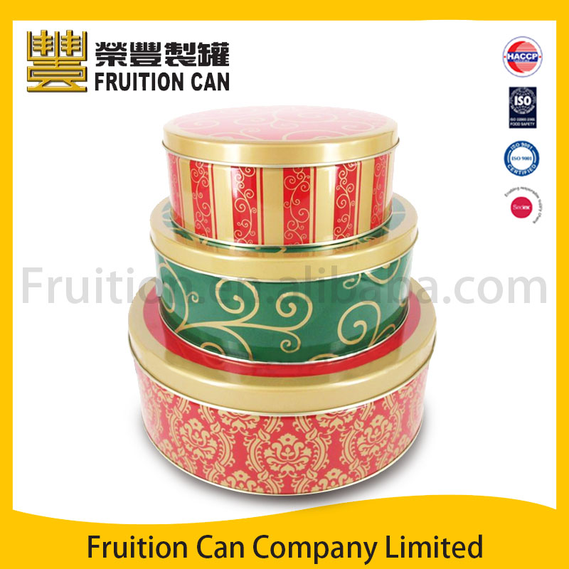 Tin can manufacturer Gift Set of 3 Round Tin Metal Box with Slip Cover pringles can food can