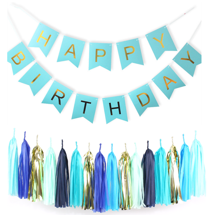 baby shower blue happy birthday banner design for party decoration