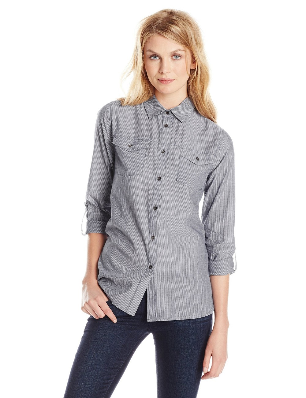 100% cotton stripe women's long sleeve shirt