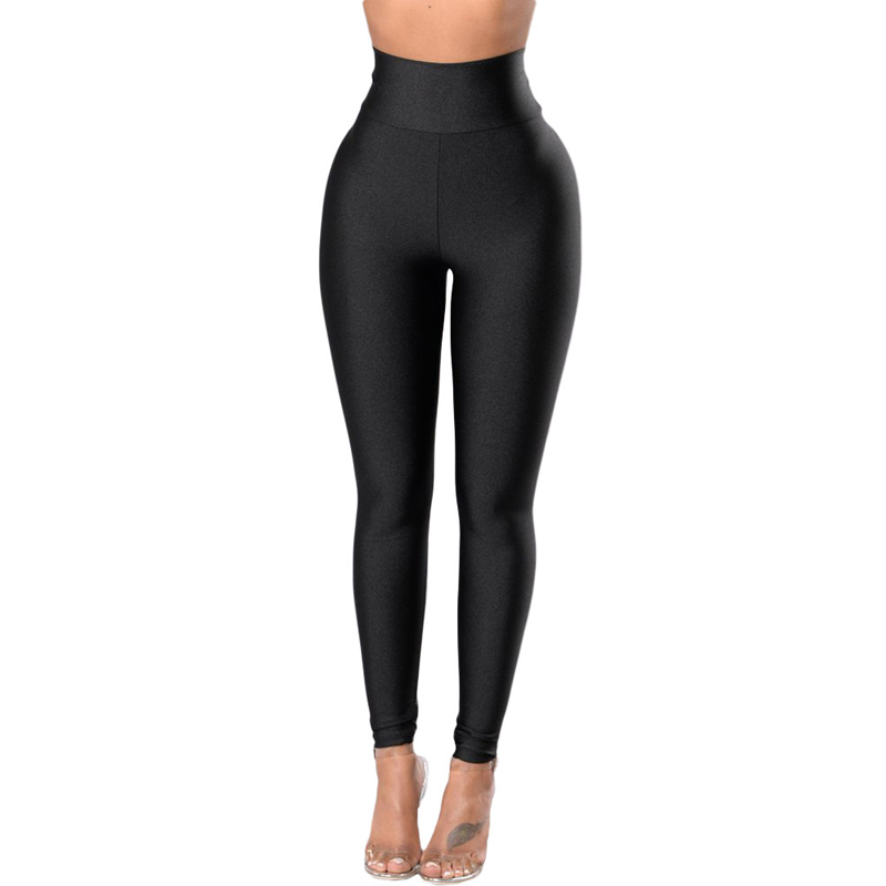 Wholesale Black High Rise Tight Waist Cinch Latex Leggings