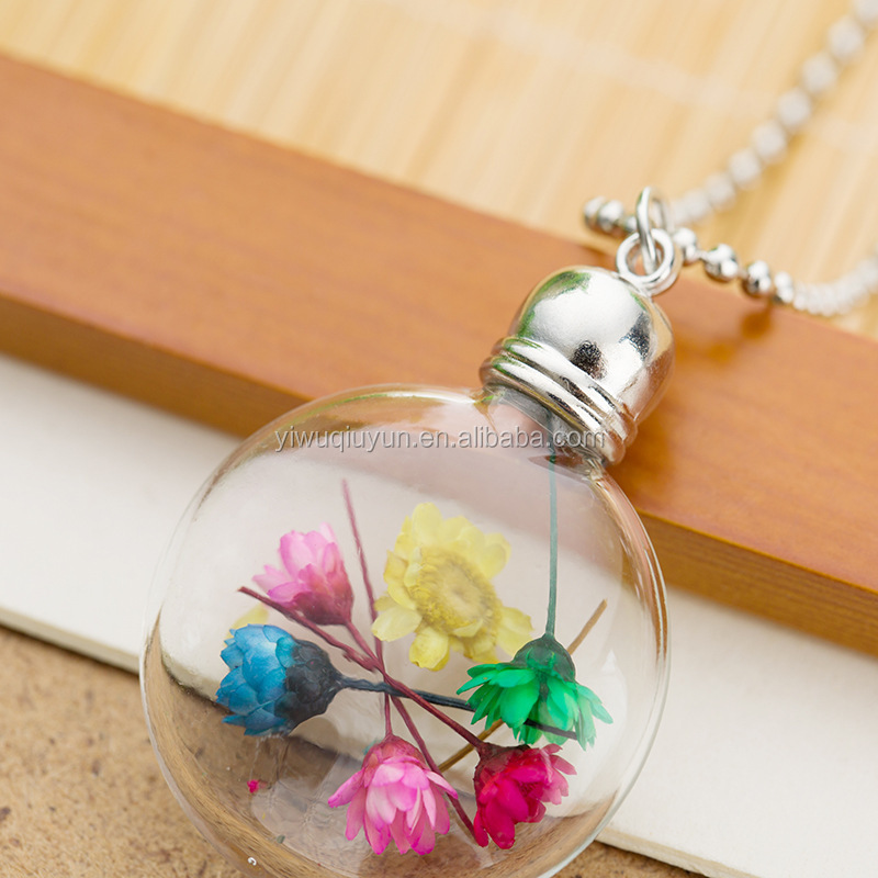 Mixed Necklace Collares Trendy Round New Handmade Glass Bottle Necklace Boutique Real Dried Flower Pendant Jewelry For Women
