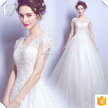 Bling ball gown wedding dress heavy beaded shoulder ball gown with sweetheart neckline