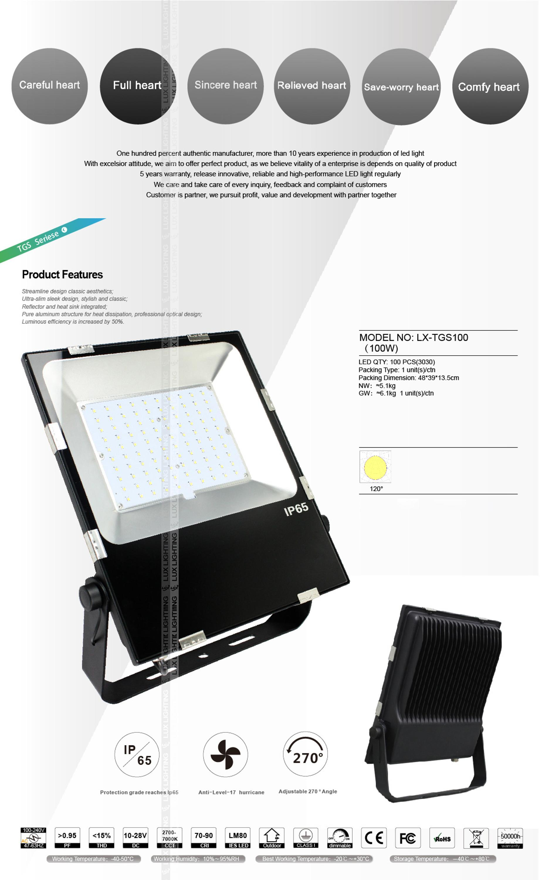 CE & RoHs approved high cri high lumen 100w led indoor flood lights