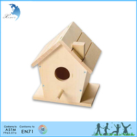 School wooden kids toys New unfinished wooden bird house wholesale