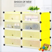 DIY storage cupboard shoes rack shelves 8 cubes yellow color(FH-AW012810-8)