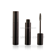 Pure black round slim plastic mascara tube cosmetic packaging korea
