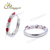 Charm simple design ring Micro Pave Red /Blue Zircon Ring For Woman