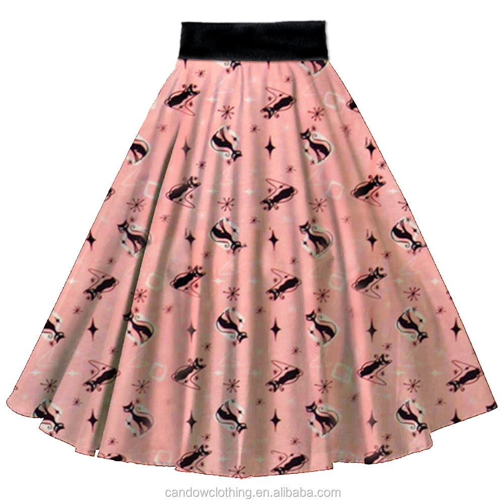 Custom Pink Pretty Kitty Print Female Pleated Skirt Famous Lady Midi Skate Skirt