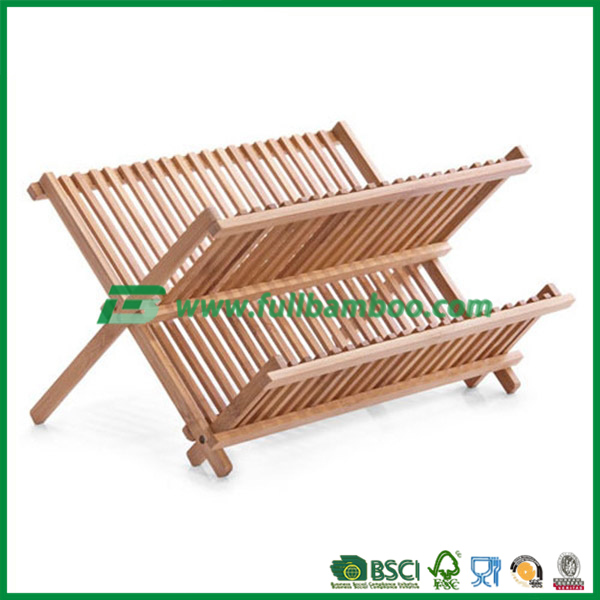 kitchen & restaurant bamboo dish rack ,bamboo dish plate storage rack