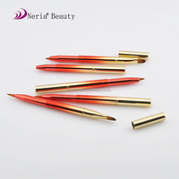 Neria high quality retractable cosmetic full aluminum double side lip brush