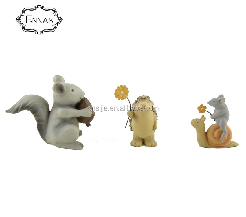 S/3  Small animal resin funny animal statue Squirrel Hedgehog Mouse Figurines