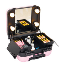 Professional Trolley Beauty Box Lovely Pink Makeup Vanity Case