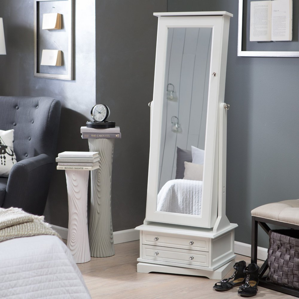 White cheap standing wood cheval mirror jewelry armoire for Cheap white mirror