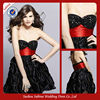 C01167 Black Strapless And Sweetheart Folding Skirt Cocktail Dresses With Red Sash