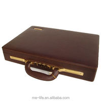 Brown Bonded leather Briefcase Carry Business Lock Attach Case