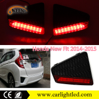 KEEN 2014-2015 New Fit/Jazz led rear bumper reflector car brake tail light with reflector 12V led stop and tail light for Honda