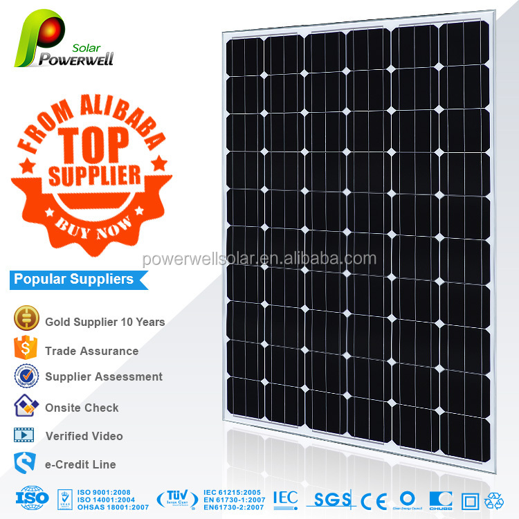 165w Monocrystalline solar panel high quality with competitive price with all certifications