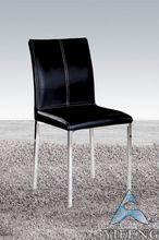 Modern black leather ergonomic dining chairs
