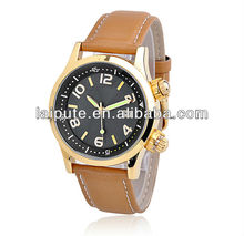 2013 newest fashionable best gold plating round brand design high quality factory calendar watch for men leather watch strap