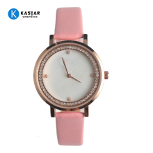 Luxury Women's Round Shape Rose Gold Slim Thin Genuine Leather Strap Diamond Pink Band Dress Watch Fake Shell Dial Watch Women