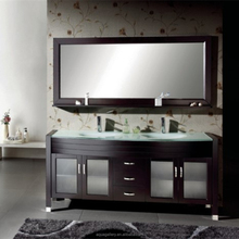 72 Inch Floor Standing Tempered Glass Countertop Double Sinks Bathroom Cabinet