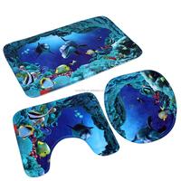 Soft 3in 1 Bathroom Non-Slip Blue Ocean Style Pedestal Rug + Lid Toilet Cover + Bath Mat Bathroom Rugs 3D Flannel Bathroom mat