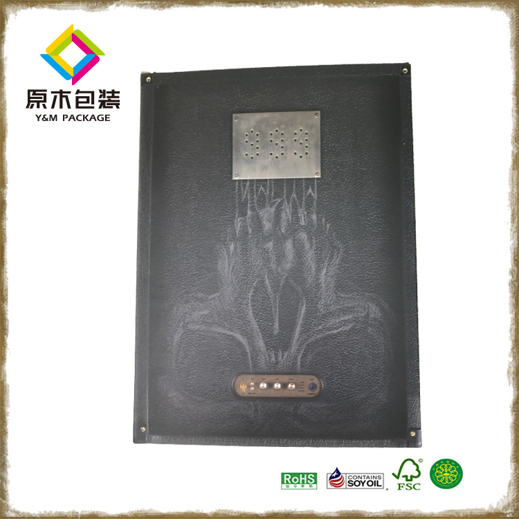 Custom black card paper skull head imitation leather printed toy gift packing box