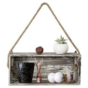 Rustic Torch Wood Floating Shelf Box with Thick Hanging Rope, Decorative Shadow Box