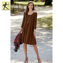 2017 Top Sell new ladies casual 3/4 plus size loose soft knit pullover back seam trapeze relaxed swing long sleeve maxi dress