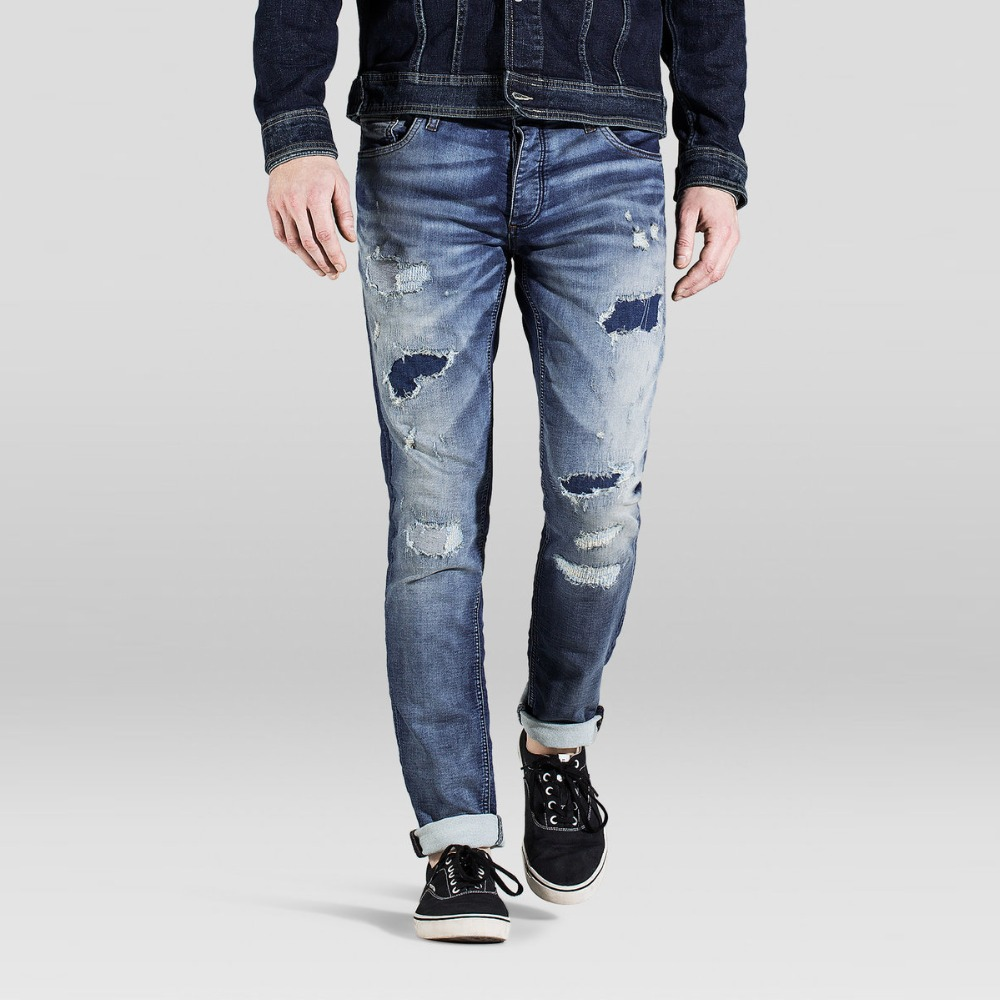 ripped hip hop slim fit mens jeans with high quality hot sale