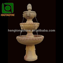 3 Tier Marble Water Fountain With Lion Heads Statue
