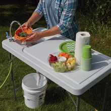outdoor folding camping table with faucet and sink