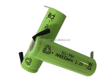 Electric shaver battery nimh rechargeable battery pack aa 800mah 2.4v 1.2V/NI-MH AA battery pack with solder tab