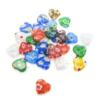 Beading Station glass hollow Lampwork Flat Heart Glass Beads