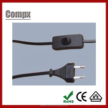 VDE European standard lamp power cord with on/off switch