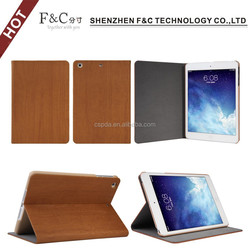 Made of high quality Wood pattern pu leather cover for ipad mini 3 case