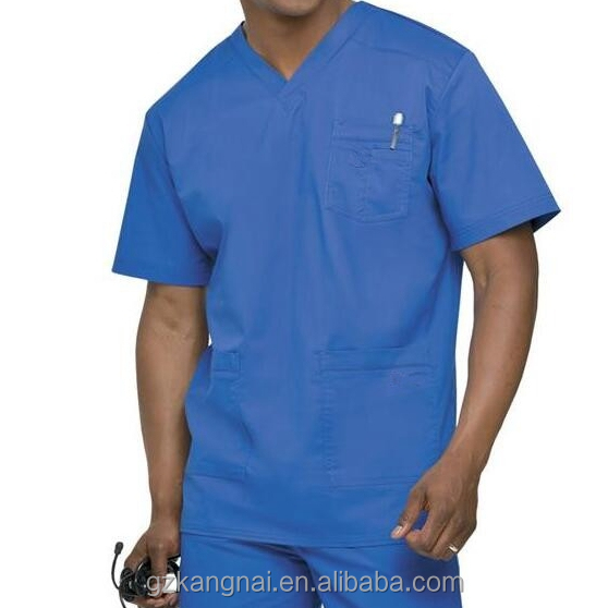CGZ012 Custom/OEM Hopital Uniform 100%Polyester V-Neck Men's Scrub Top