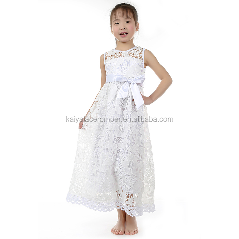 Best price beauty white baby girls long dress party frocks simple designs kids clothing wholesale