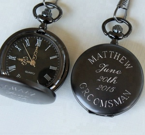 Gun Metal Black Color Engraved Quartz Pocket Watch
