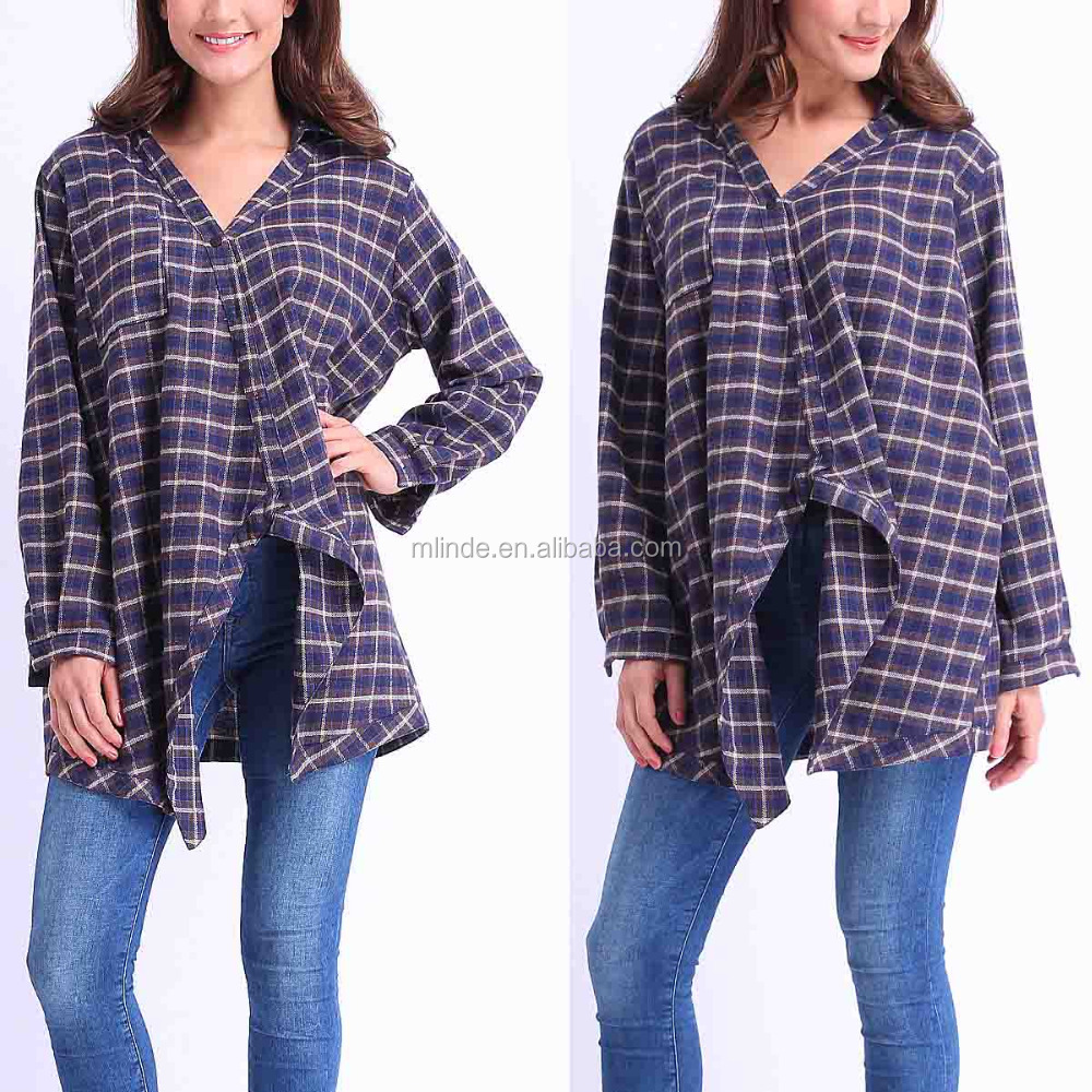Women Fashion Plus Size Long Sleeve Green Plaid Asymmetrical-Hem Top Blouses Plaid Flannel Shirt Wholesale CUSTOM Made