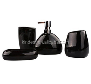 Customized black color Ceramic bath set , Black soap dispenser tumbler ceramic supplier