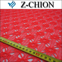 Z_chion High Quality Hot Sale Popular Red Color Polyester African Cord Lace Fabric